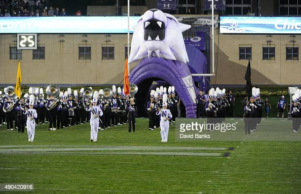The Northwestern Wildcats marching band before the game against the Ball State Cardinals on September 26 2015 at Ryan Field in Evanston Illinois