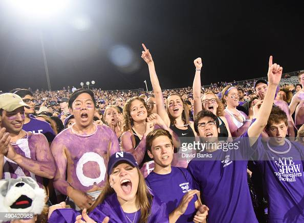 The Northwestern Wildcats student section during the first half of a game against the Ball State Cardinals on September 26 2015 at Ryan Field in...
