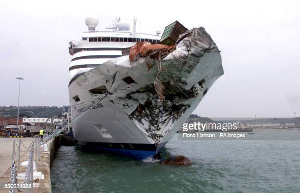 The Norwegian cruise liner Norwegian Dream is moored in Dover Harbour after a collision with the container vessel Ever Decent in the English Channel...