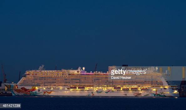 The Norwegian Getaway sits moored in the port of Bremerhaven November 21 2013 in Bremerhaven Germany The Norwegian GETAWAY belongs to the Norwegian...