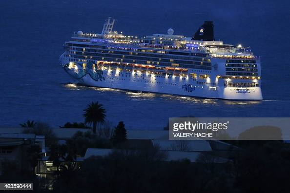 The Norwegian Jade cruise ship waits off the coast of Nice in southeastern France after bad weather conditions prevented it from reaching Monaco on...
