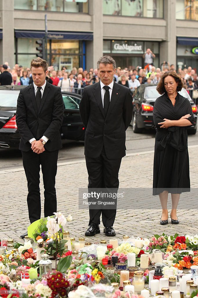 The Norwegian Labour Party's youth leader Eskil Pedersen Norwegian Prime Minister Jens Stoltenberg and his wife Ingrid Schulerud attend the Memorial...