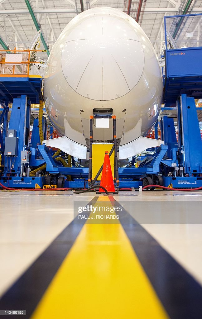 The nose cone of Boeing 787 Dreamliner is seen on the production floor at Boeing's new facilities April 27, 2012, in North Charlston, South Carolina. Boeing rolled-off it's first South Carolina made 787 Dreamliner aircraft here today. AFP PHOTO/Paul J. Richards / AFP / PAUL