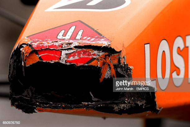 The nose cone of Jos Verstappen's Arrows slightly mangled from his encounter with a tyre wall when he span off during the race