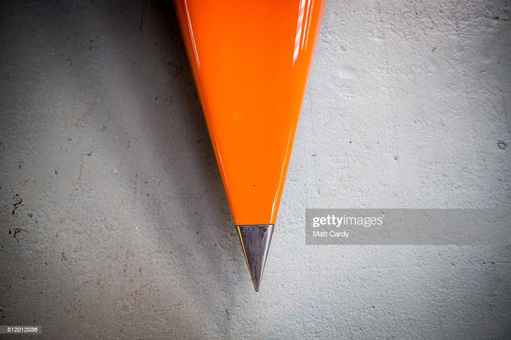 The nose of the Bloodhound SSC vehicle is seen on display inside the design centre in Avonmouth on February 24 2016 in Bristol England It is hoped...