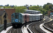 The nostalgic subway between Manhattan and Queens stations is attracted intensive attention by New Yorkers on May 18 2014 in NY