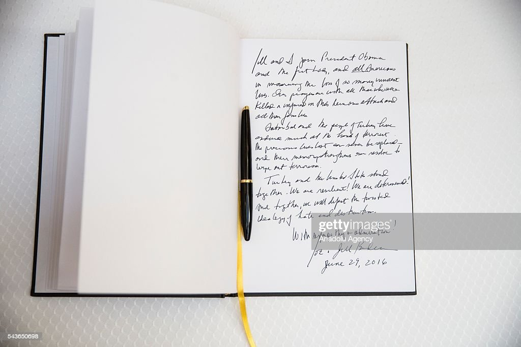 The note left by Vice President Joe Biden and his wife Dr. Jill Biden for the victims of the Istanbul Airport bombing in a book at the Turkish Embassy in Washington, USA on June 29, 2016.