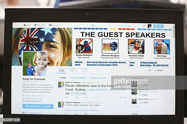The notice of the 'Cronulla Riots Memorial' event is seen on the Party for Freedom twitter page on December 11 2015 in Sydney Australia The request...