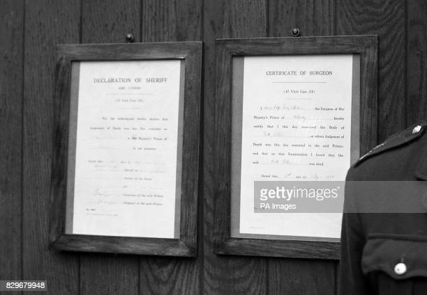 The notices of Sheriff and Surgeon announcing the execution of Mrs Ruth Ellis are posted on the gates of Holloway Prison