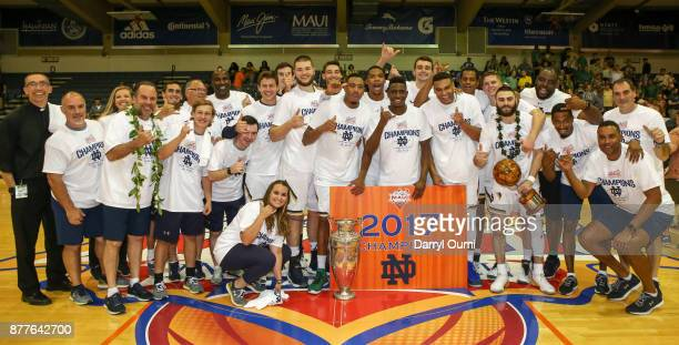 The Notre Dame Fighting Irish after winning the 2017 Maui Invitational at the Lahaina Civic Center on November 22 2017 in Lahaina Hawaii Notre Dame...