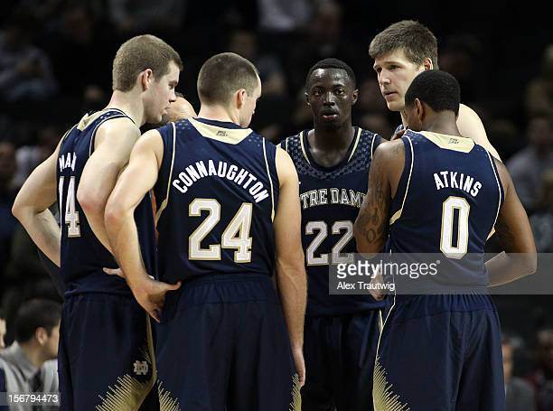 The Notre Dame Fighting Irish huddle during their first round game of the Coaches Vs Cancer Classic against Saint Joseph's Hawks at the Barclays...