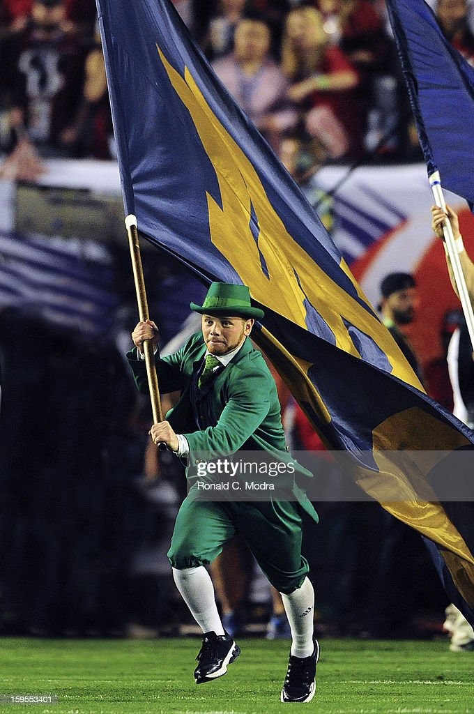 The Notre Dame Fighting Irish leprechaun mascot runs on the field prior to the game against the Alabama Crimson Tide during the 2013 Discover BCS National Championship Game at Sun Life Stadium on January 7, 2013 in Miami Gardens, Florida.