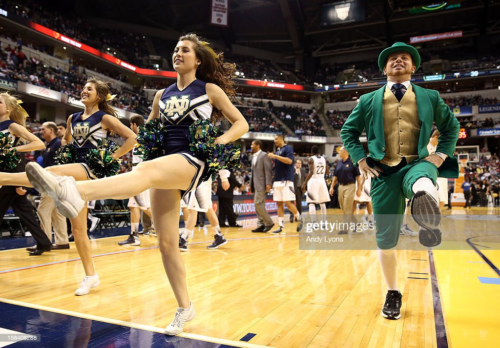 The Notre Dame Fighting Irish mascot performs during the game against the Purdue Boilermakers during Boston Scientific Close The Gap Crossroads Classic at Bankers Life Fieldhouse on December 15, 2012 in Indianapolis, Indiana.
