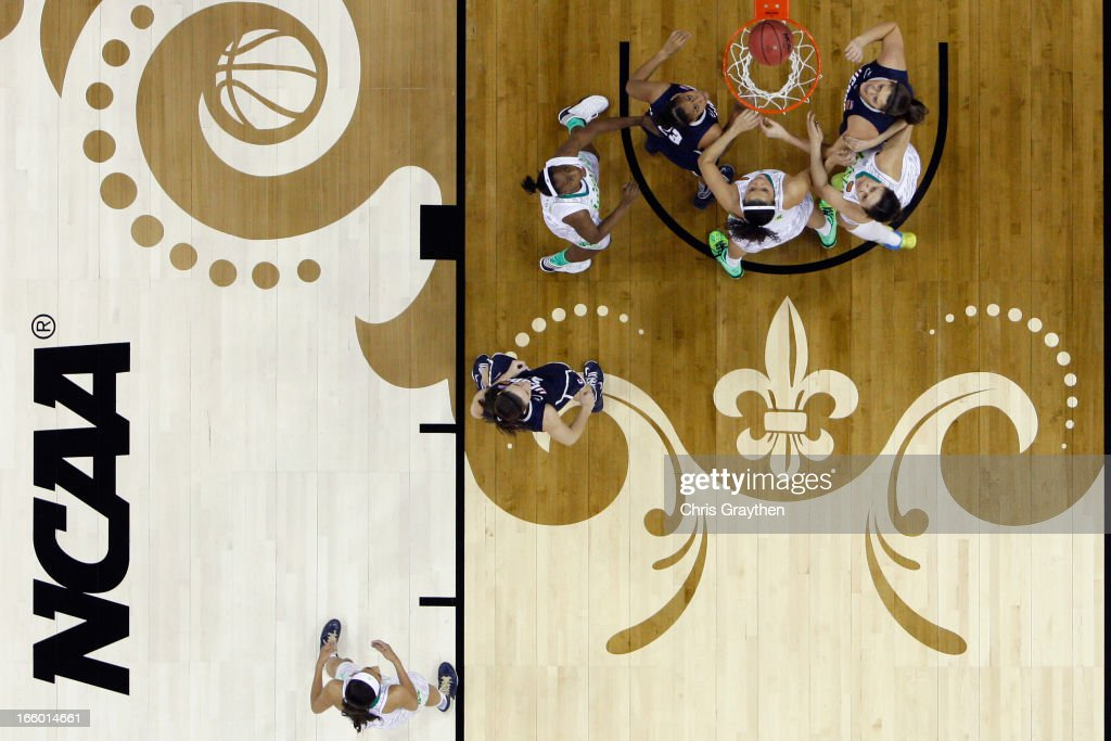 The Notre Dame Fighting Irish play the Connecticut Huskies during the National Semifinal game of the 2013 NCAA Division I Women's Basketball Championship at the New Orleans Arena on April 7, 2013 in New Orleans, Louisiana.