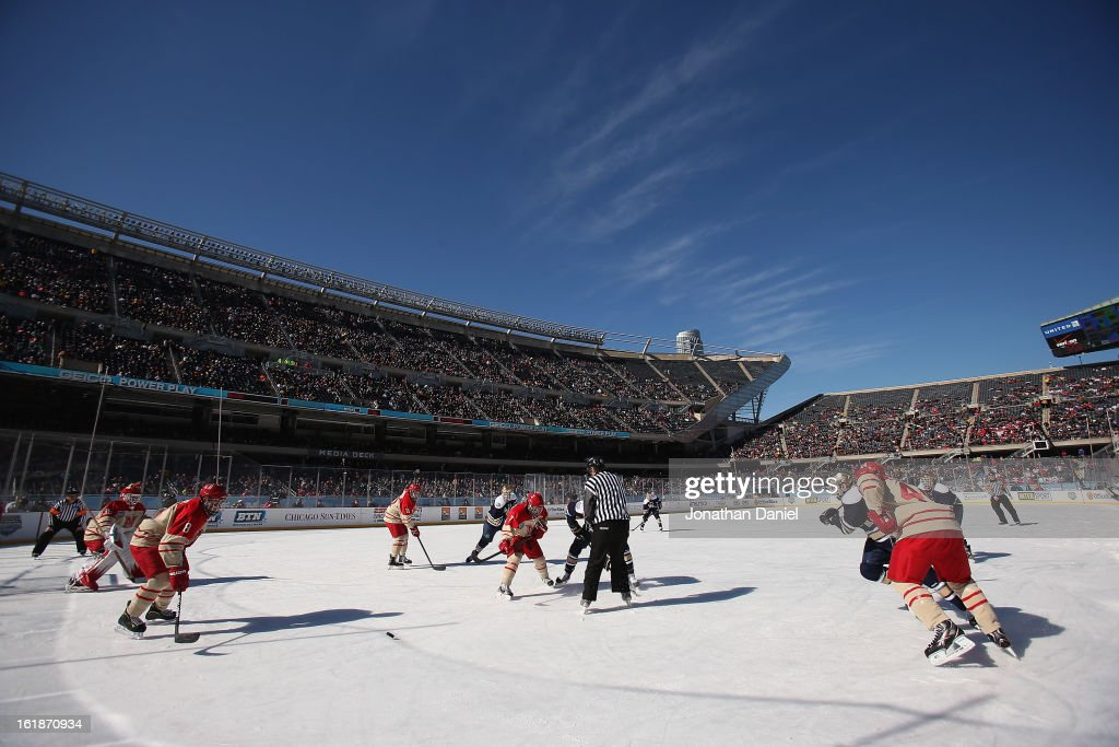 The Notre Dame Fighting Irish take on the Miami Redhawks during the Hockey City Classic at Soldier Field on February 17, 2013 in Chicago, Illinois.