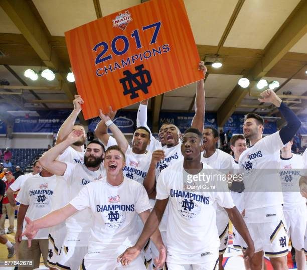 The Notre Dame Fighting Irish with the 2017 Maui Invitational at the Lahaina Civic Center on November 22 2017 in Lahaina Hawaii Notre Dame won the...