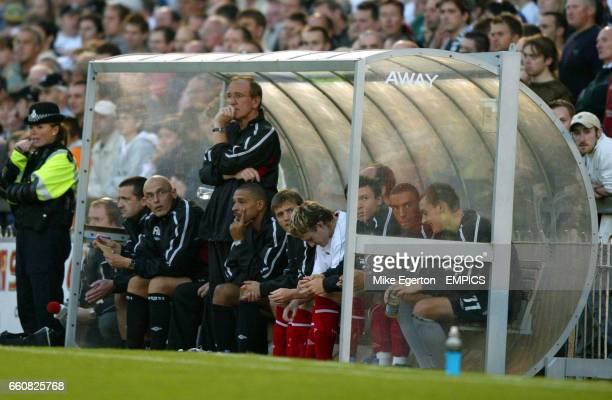 The Nottingham Forest bench minus a missing manager Joe Kinnear