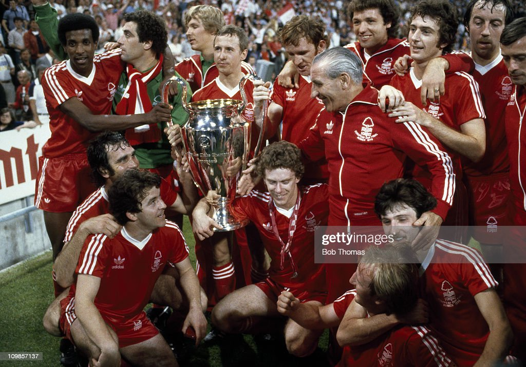 The Nottingham Forest team with the European Cup after their 10 victory over Malmo in the European Cup Final at the Olympic Stadium in Munich 30th...