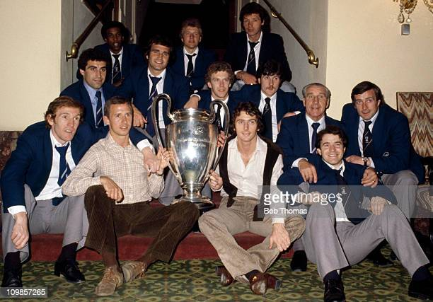The Nottingham Forest team with the European Cup at their hotel in Munich after a 10 victory over Malmo in the European Cup Final at the Olympic...