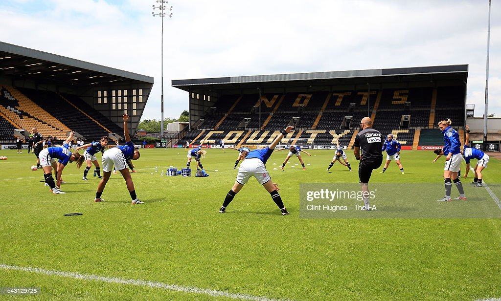 The Notts County Ladies team warm up prior to kick off during the FA WSL 1 match between Notts County Ladies FC and Doncaster Rovers Belles at the Meadow Lane Stadium on June 26, 2016 in Nottingham, England