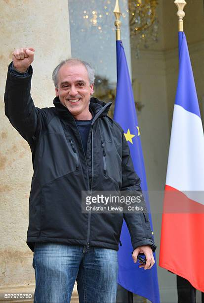 The Nouveau parti anticapitaliste far left party Philippe Poutou leaves the Elysee presidential palace after a meeting with France's President 2012...