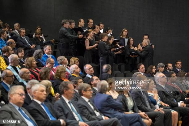 The NOVA University of Lisbon choir performs during the ceremony in which His Highness Shah Karim alHussaini Prince Aga Khan was awarded with the...