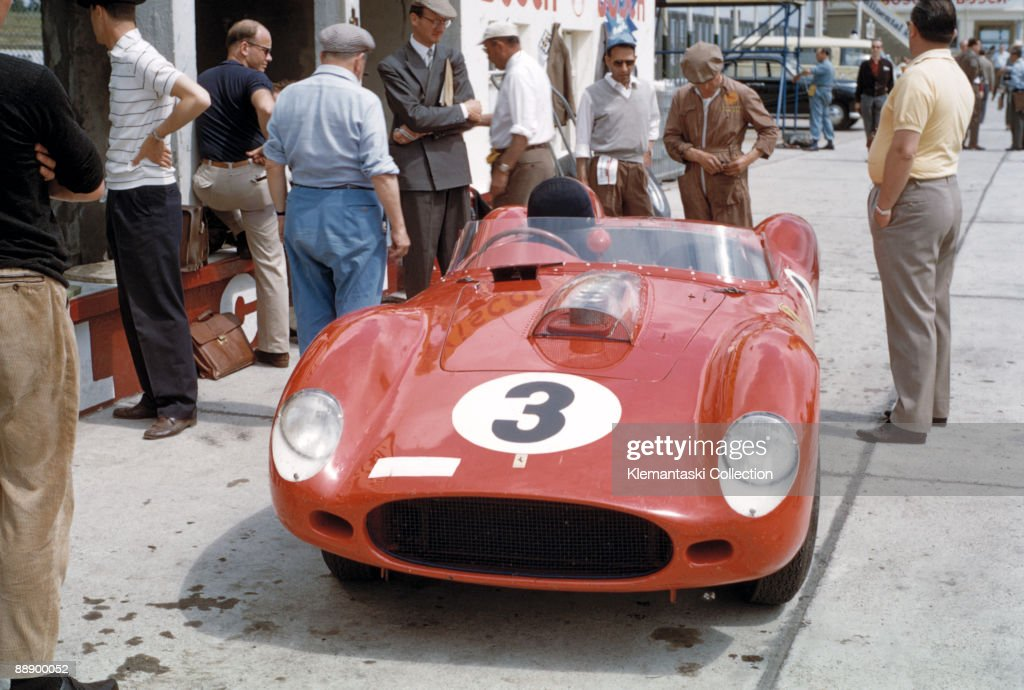 The Nürburgring 1000 km Race Nürburgring June 7 1959 A Ferrari 250TR/59 waiting in the pits during practice This car will be driven by Tony Brooks...