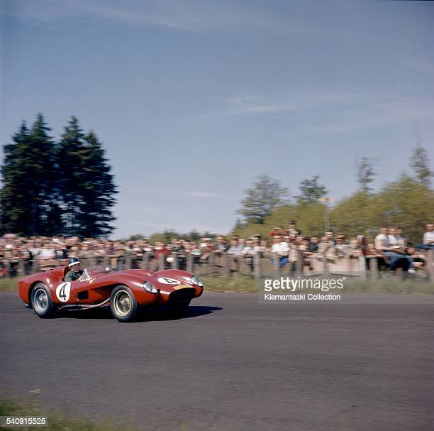 The Nürburgring 1000km Race Nürburgring June 1 1958 Mike Hawthorn with the Ferrari 250TR which he shared with Peter Collins into second place