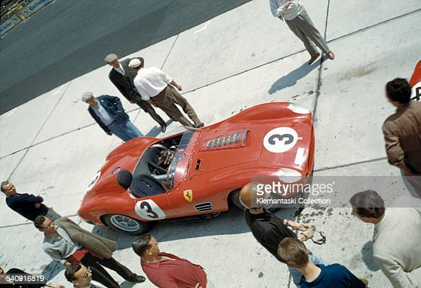 The Nürburgring 1000km Race Nürburgring June 7 1959 During practice Tony Brooks prepares to go out in the Ferrari 250TR/59 which he would share with...