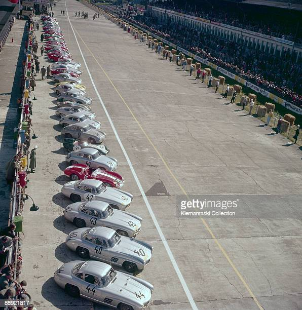 The Nürburgring 1000km Race Nürburgring May 26 1957 Part of the long lineup of cars for the start with several Mercedes 300SLs closest to the camera