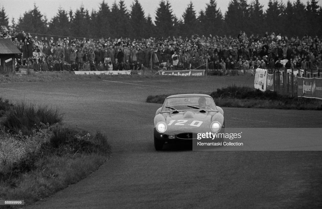The Nürburgring 1000km Race; Nürburgring, May 27, 1962. The Ferrari 330GTO which was superbly driven into second place overall by Willy Mairesse and Michael Parkes.