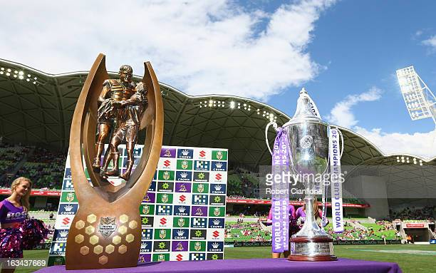 The NRL Premiership trophy and the World Club Challenge trophy both won by Melbourne Storm are displayed prior to the round one NRL match between the...