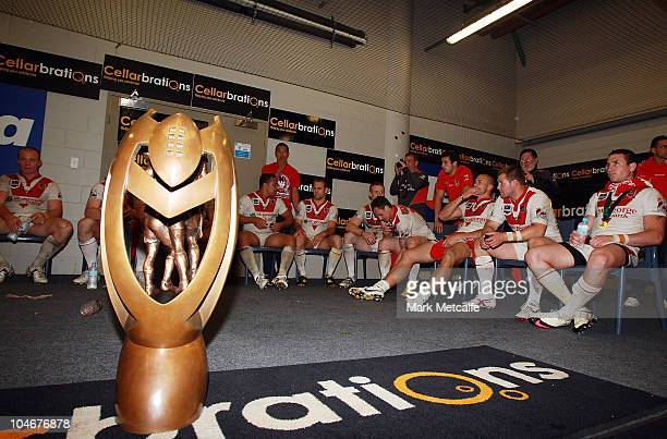 The NRL Premiership trophy sits on the floor of the Dragons changing rooms following the Grand Final between the St George Illawarra Dragons and the...