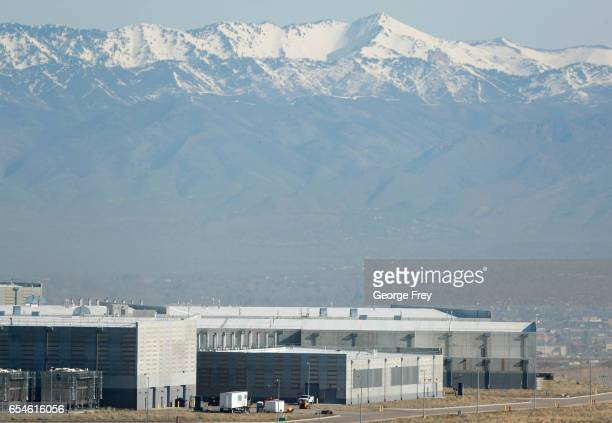 The NSA's Utah data collection center is seen with Salt Lake City in the background on March 17 2017 in Bluffdale Utah The 15 billion dollar data...