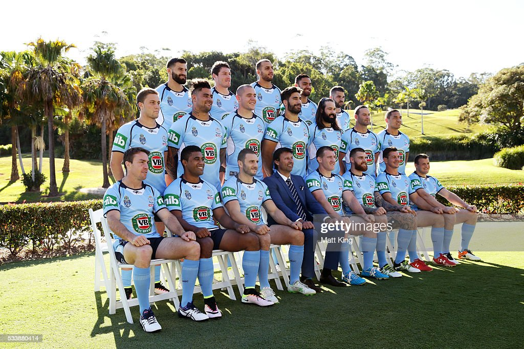 The NSW Blues pose during a New South Wales Blues NRL State of Origin team photo session at The Novatel on May 24, 2016 in Coffs Harbour, Australia.