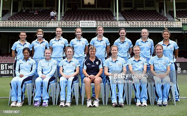 The NSW Breakers pose for a team photo in front of the members stand before the start of the WNCL Final match between the NSW Breakers and the...