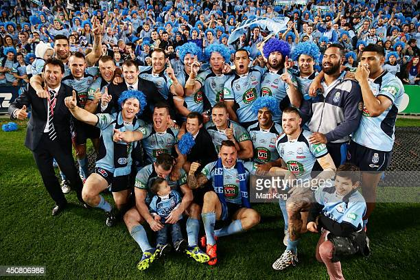 The NSW Bues pose for a team photo after victoryin game two of the State of Origin series between the New South Wales Blues and the Queensland...