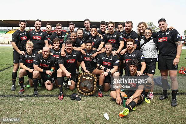 The NSW Country Eagles team celebrate victory after the round seven NRC match between the Western Sydney Rams and the NSW Country Eagles at Concord...