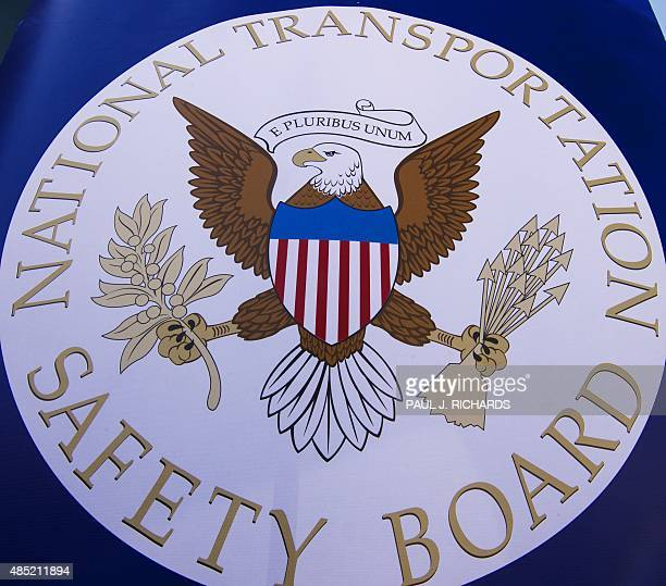 The NTSB logo is seen during a safety event for children at Trailside Middle School in Ashburn Virginia August 25 2015 AFP PHOTO/PAUL J RICHARDS