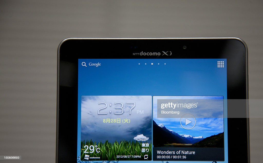 The NTT DoCoMo Inc. Galaxy Tab 7.7 Plus SC-01E tablet computer, manufactured by Samsung Electronics Co., is displayed during a product launch in Tokyo, Japan, on Tuesday, Aug. 28, 2012. NTT DoCoMo Inc., Japan's biggest mobile-phone company, released their latest tablet and smartphone series today. Photographer: Tomohiro Ohsumi/Bloomberg via Getty Images