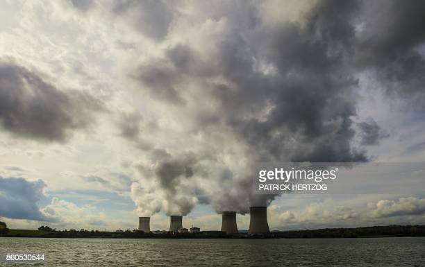 TOPSHOT The nuclear power plant of Cattenom eastern France is pictured on October 12 2017 after Greenpeace activists broke into the facility to...