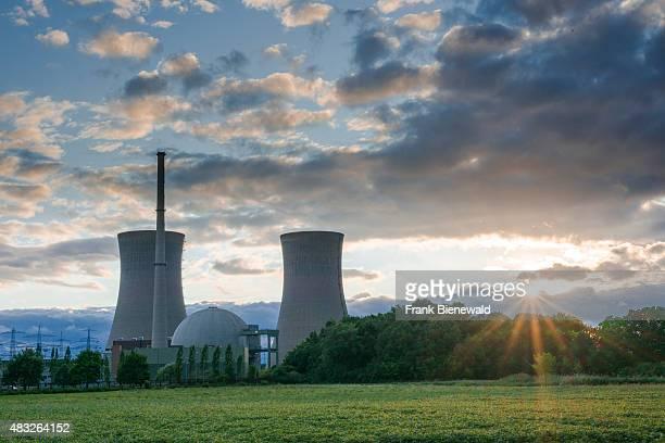 GRAFENRHEINFELD BAVARIA GERMANY The nuclear powerplant 'Grafenrheinfeld' seen at sunset