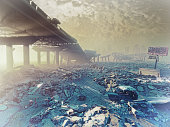 The nuclear winter. Apocalyptic landscape.3d illustration concept