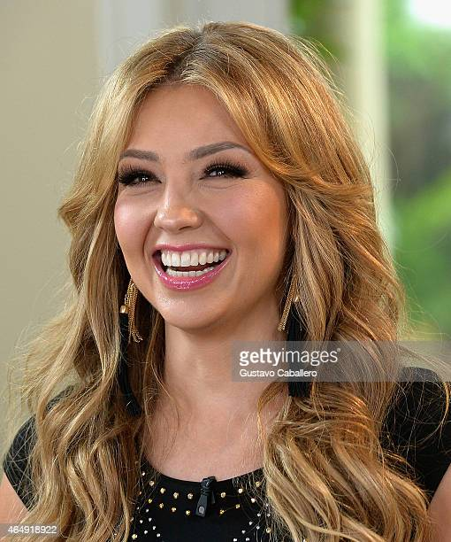 The Nuestra Belleza Latina beauties greeted the talented Thalia at the NBL Mansion as she introduced their next challenge on February 25 2015 in...