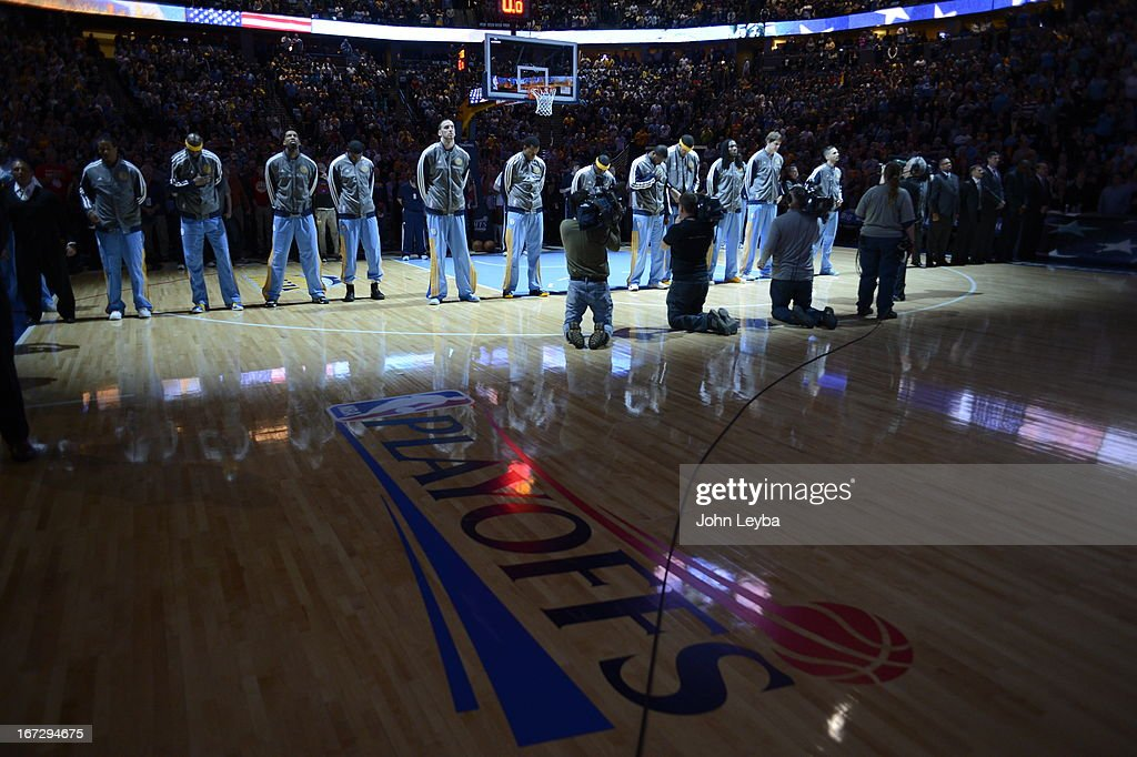 The Nuggets line up for the NAtional Anthem before the start of the game. The Denver Nuggets took on the Golden State Warriors in Game 2 of the Western Conference First Round Series at the Pepsi Center in Denver, Colo. on April 23, 2013.