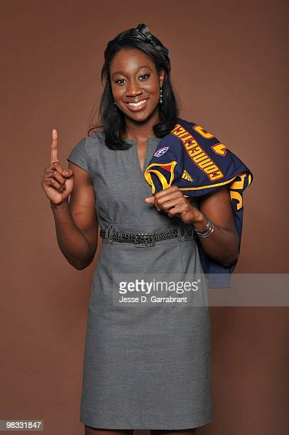 The number 1 overall pick Tina Charles of the Connecticut Sun poses for a portrait during the 2010 WNBA Draft on April 8 2010 in Secaucus New Jersey...