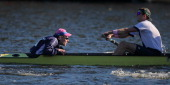 The number 17 boat of Yale University competes in the Championship Men's Eights during the 2013 Head of the Charles Regatta Oct 20 2013