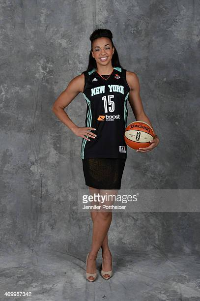 The number eleven overall pick Kiah Stokes of the New York Liberty poses for a portrait during the 2015 WNBA Draft Presented By State Farm on April...