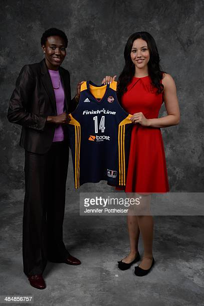 The number five overall pick Natasha Howard and number nine overall pick Natalie Achonwa of the Indiana Fever poses for a portrait during the 2014...