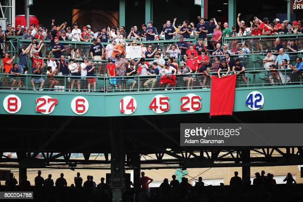 The number of former Boston Red Sox player David Ortiz is retired during a ceremony before a game against the Los Angeles Angels of Anaheim at Fenway...